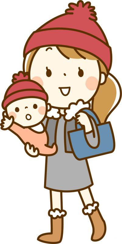 あったかい恰好をしている赤ちゃんとママのイラスト