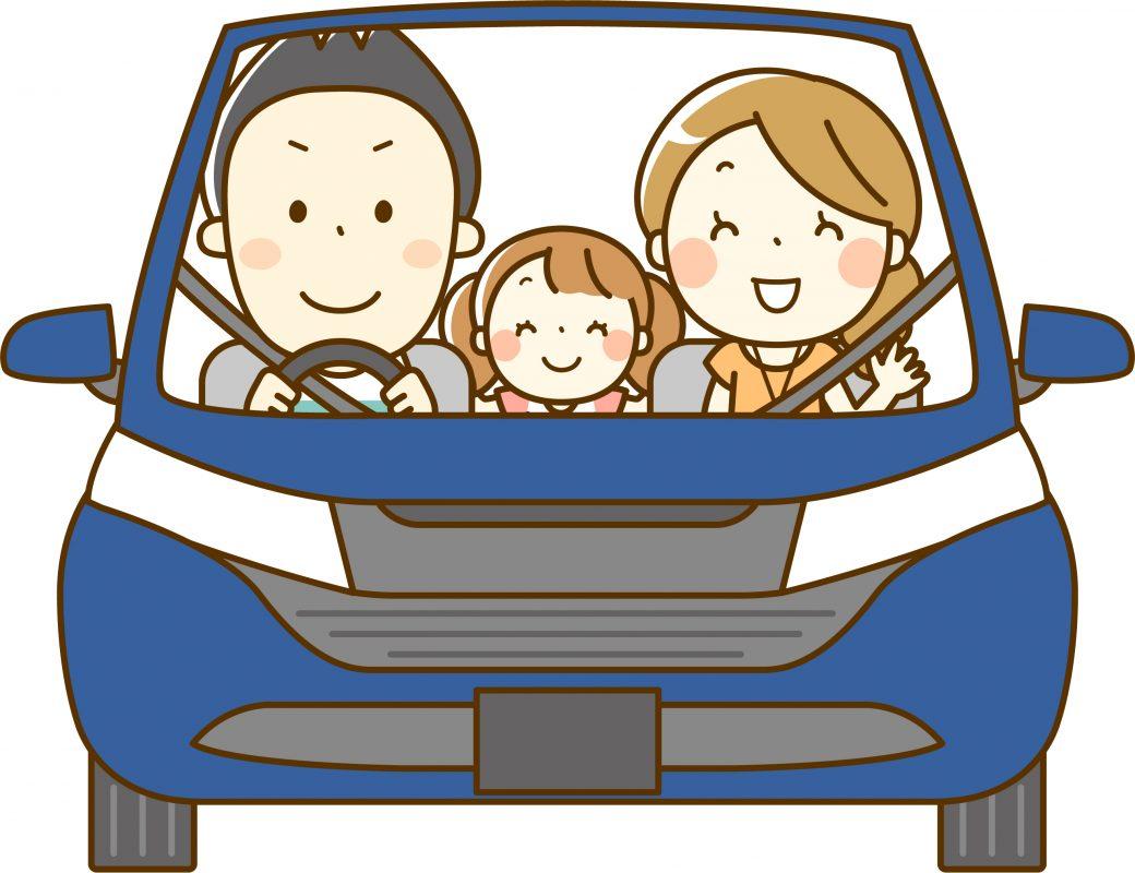 車に乗っている家族のイラスト