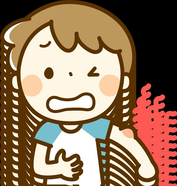 蚊に刺された少年のイラスト