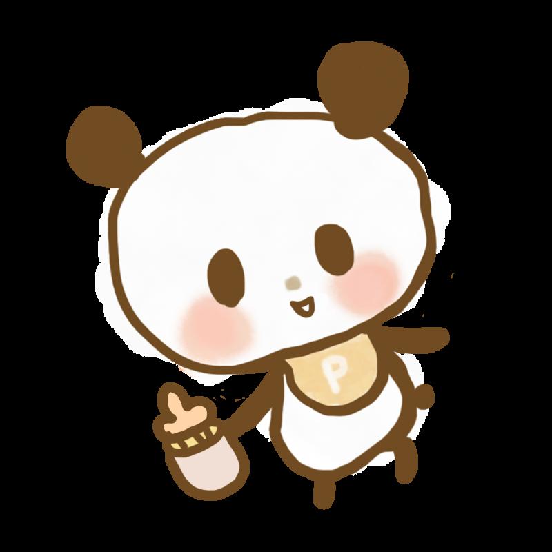 哺乳瓶を持った赤ちゃんパンダのイラスト