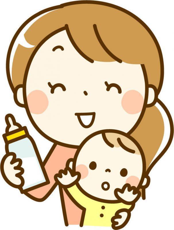 ミルクを赤ちゃんにあげようとしているママのイラスト