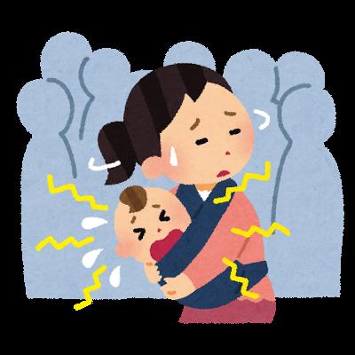 赤ちゃんが泣いていて困っているママのイラスト(外出)
