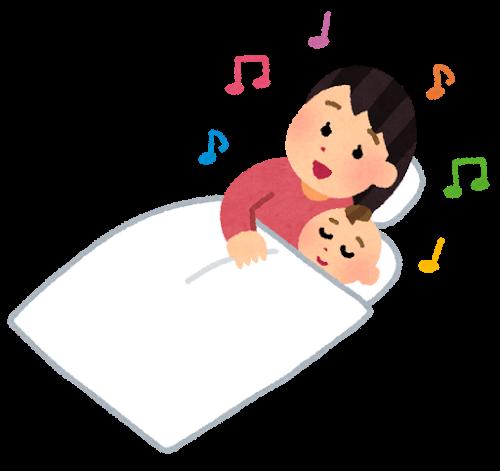赤ちゃんをトントン寝かしつけているお母さんのイラスト