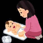 新生児の赤ちゃんのおむつを替えているお母さんのイラスト