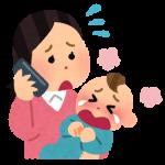 赤ちゃんの体重が増えなくて心配になって病院に電話しているお母さん