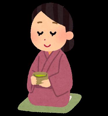 お茶の香りをかいでいる女性のイラスト