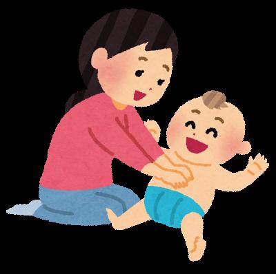 赤ちゃんを押さえつけるイラスト