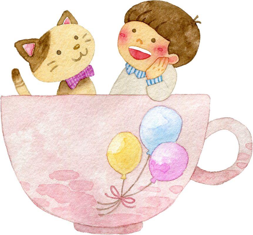 コップの中に猫と子どもが入っているイラスト