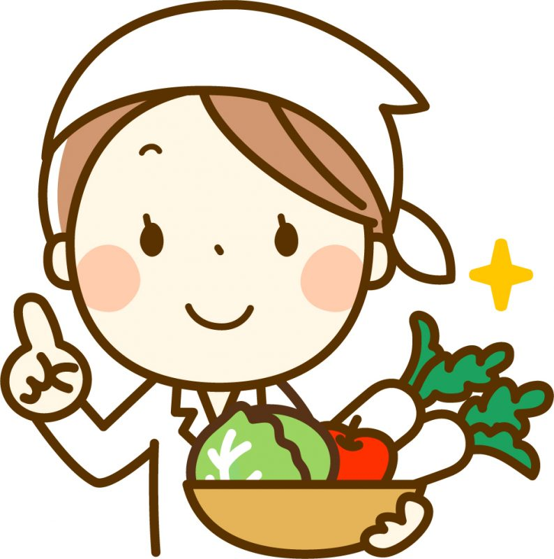 お野菜もってるお姉さんのイラスト