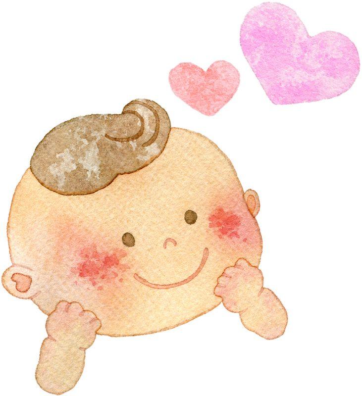 赤ちゃんがニッコリしているイラスト