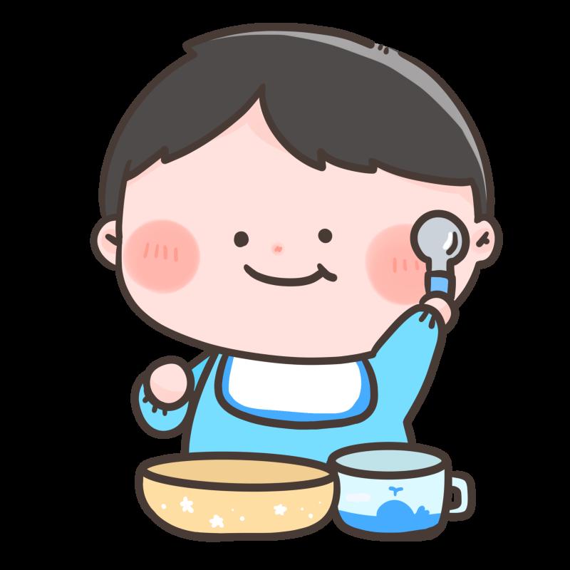 スプーンを持って喜んでいる赤ちゃんのイラスト