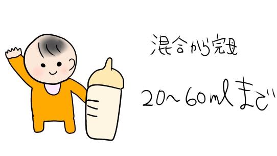 混合育児の場合、ミルクを足せるのは20〜60ml