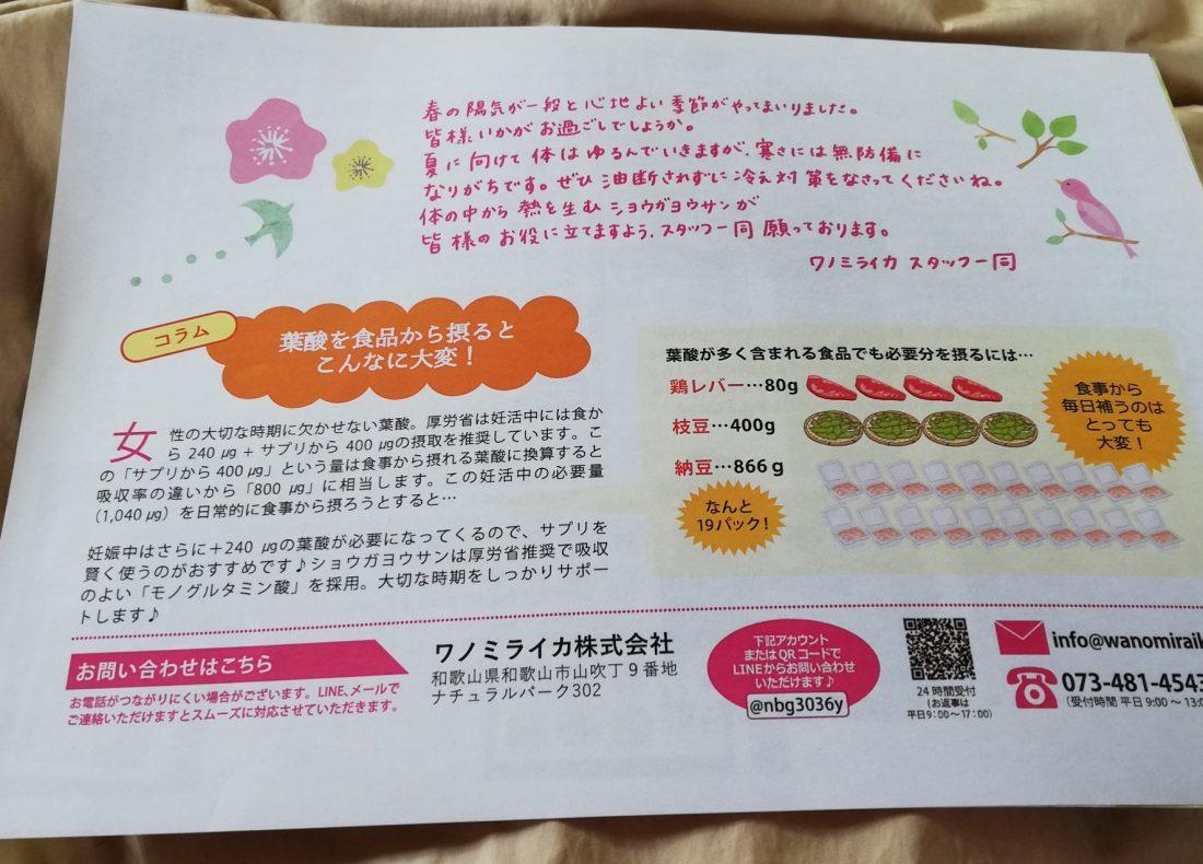 ショウガ葉酸パッケージ2